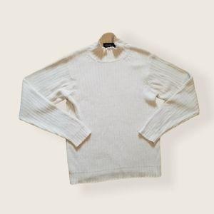 EDDIE BAUER cream cable knit mock neck sweater sma